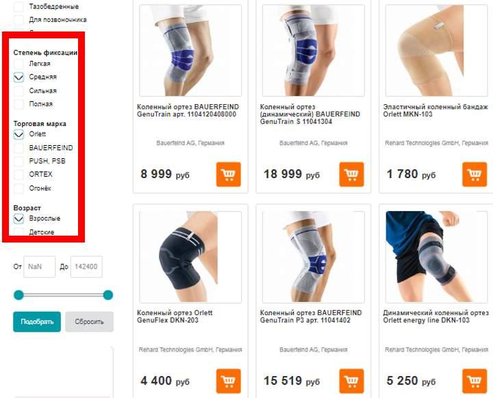 Параметры для выбора коленного ортеза